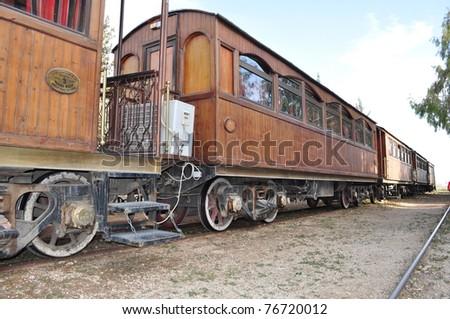 Old Train wagons in Jordan - stock photo