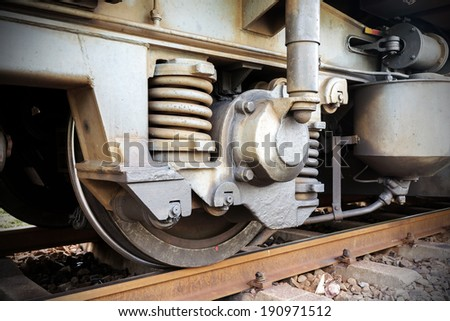 Old train wheel on a track