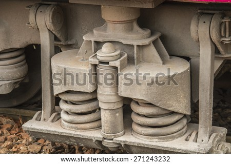 Old train wheel on a track - stock photo