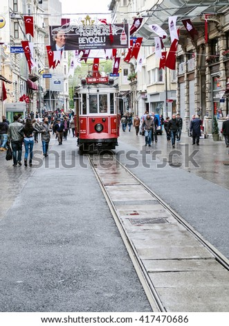 Old tram in Istanbul (Taksim route - Tunnel) in April 2014