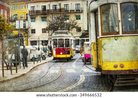 old tram in Lisbon - retro picture - stock photo