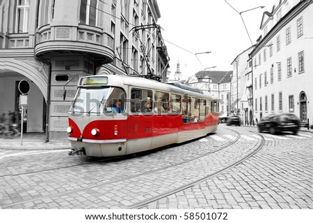 Old tram on Prague street. - stock photo