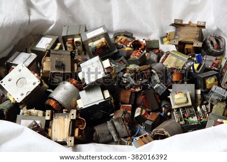 old transformer garbage from electronic recycle industry  - stock photo