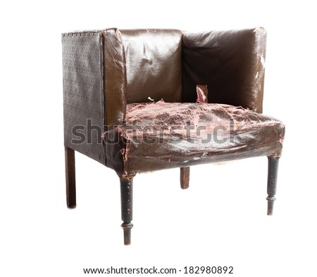 Old trash armchair, isolated on white background  - stock photo