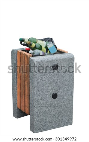Old trash can with garbage - stock photo
