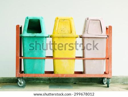 Old trash,Recycling bins , Public trash - stock photo