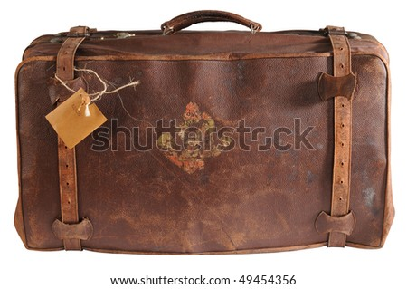 Old traveling bag. Isolated - stock photo