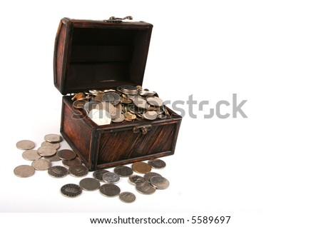Old treasure-chest full of coins - stock photo