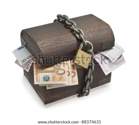 Old treasure-chest full of euro paper money - stock photo