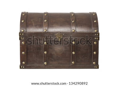 Old Treasure chest isolated on white background