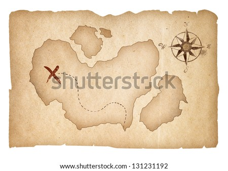 Old treasure map isolated. Clipping path is included. - stock photo