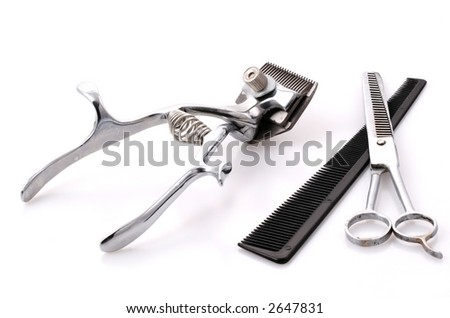 old trimmer on white background