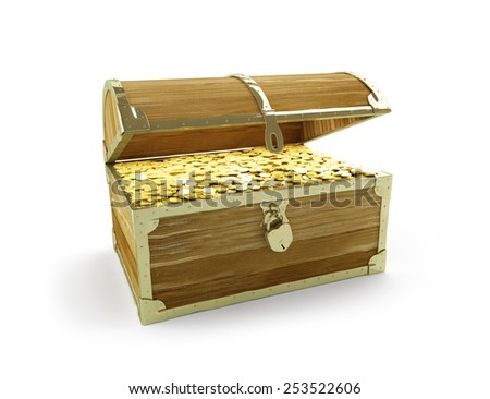 old trunk full of treasures on a white background