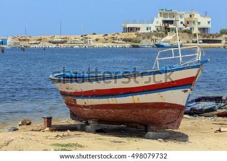 Old Tunisian fishing boat in Monastir, Tunisia