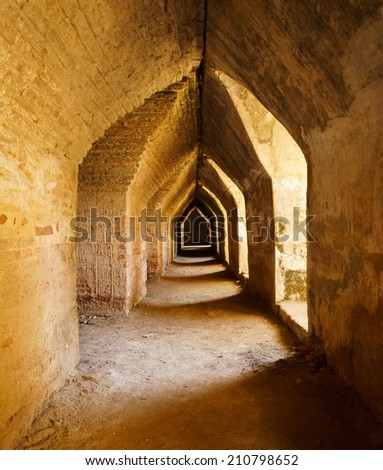 Old  tunnel in castle, Mandalay, Myanmar - stock photo