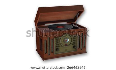 Old Turntable, Retro Gramophone isolated on white background - stock photo
