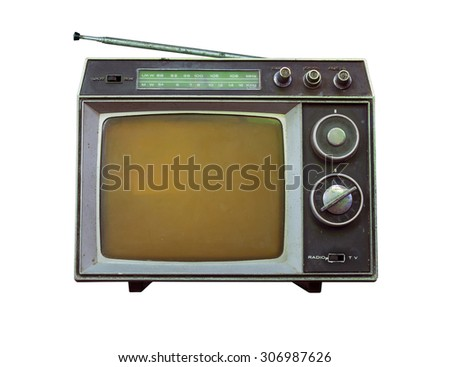 Old tv and radio isolated on white background. - stock photo