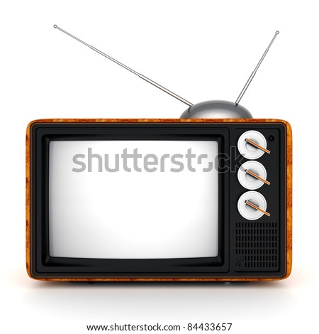 old TV image on a white background - stock photo