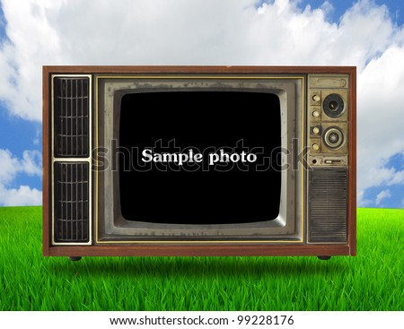 Old TV In a peaceful meadow - stock photo