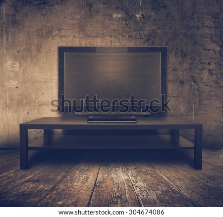 old tv in grunge interior, retro filtered, instagram style - stock photo