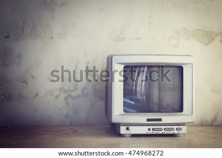 Old TV in room.(Vintage style colors)