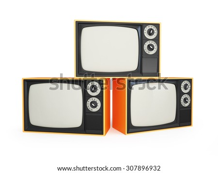 old tv isolated on a white background