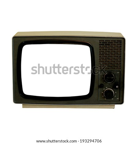 old TV on the isolated white background