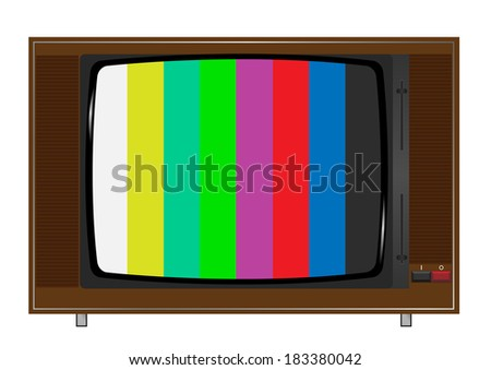 old tv playing color bars.Raster illustration. - stock photo