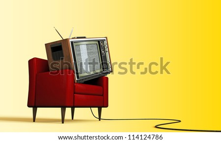 old tv relaxing in a red armchair isolated on yellow background - stock photo