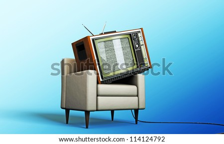 old tv relaxing in a white armchair isolated on blue background - stock photo