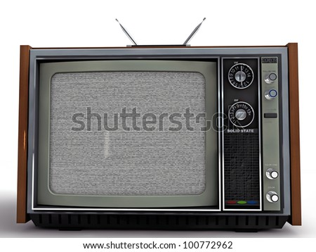 old tv retro style isolated on white background - stock photo