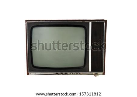 Old tv set isolated on white background - stock photo