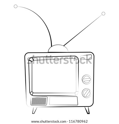 Old TV set. Raster version of vector illustration. - stock photo