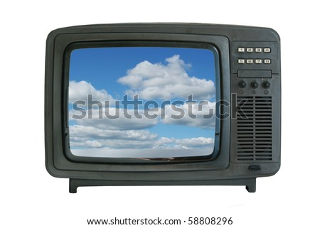 old tv-set showing blue sky with clouds - stock photo