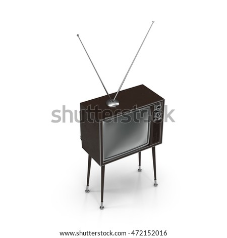 Old TV with legs on white 3D Illustration