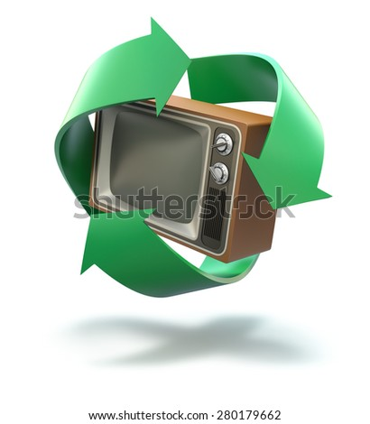 Old TV with recycling symbol - stock photo