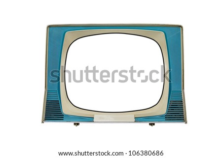 old tv with screen clipping paths isolated on white - stock photo