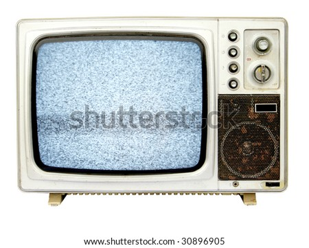 old tv with TV snow - stock photo