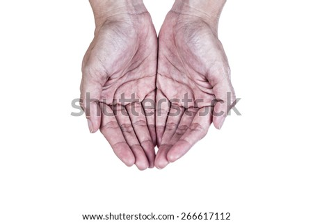 old two hand, isolated on white background - stock photo