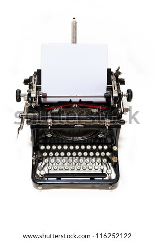 Old type writer with paper sheet