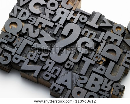 old typefaces in oblique composition - stock photo