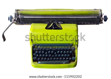 Old Typewriter color green - stock photo