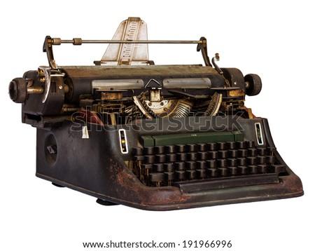 Old typewriter isolated on white background - stock photo