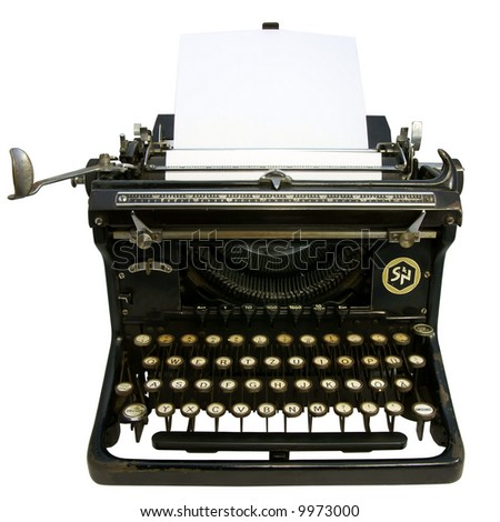 Old typewriter isolated on white with clipping path