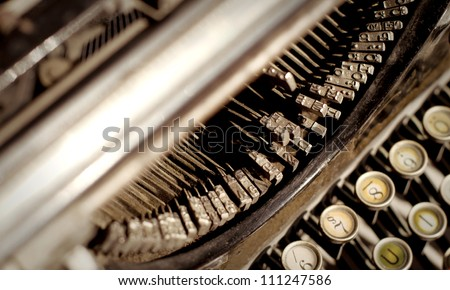 old typewriter keyboard - stock photo