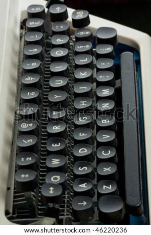 Old typewriter keyboard close up - stock photo