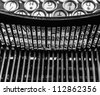Old Typewriter keys - faded color and rusted - stock photo