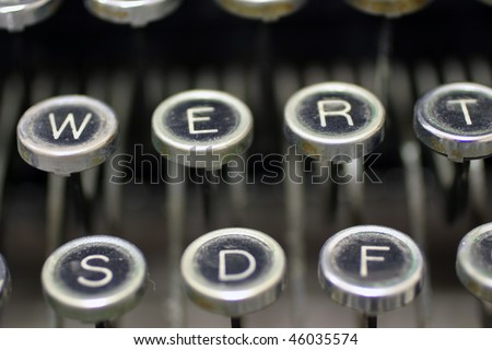 Old typewriter keys to type old letters - stock photo