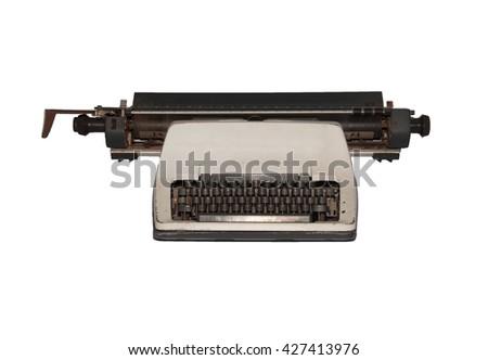 Old typewriter with Isolated on white background  - stock photo