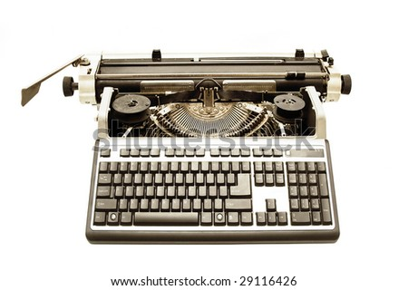 Old typewriter with modern PC keyboard